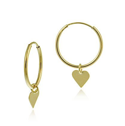 10K Gold Dangling Heart Endless Mini Hoop Earrings