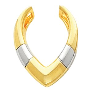 Elegant and Stylish Two Tone Pendant Enhancer in 14K Yellow and White Gold, 100% Satisfaction Guaranteed.