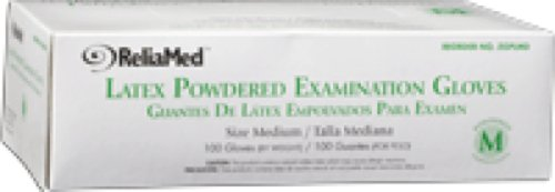 ReliaMed Non-Sterile Powdered Latex Examination Gloves Small (100/Box) (Box of 100 Each)