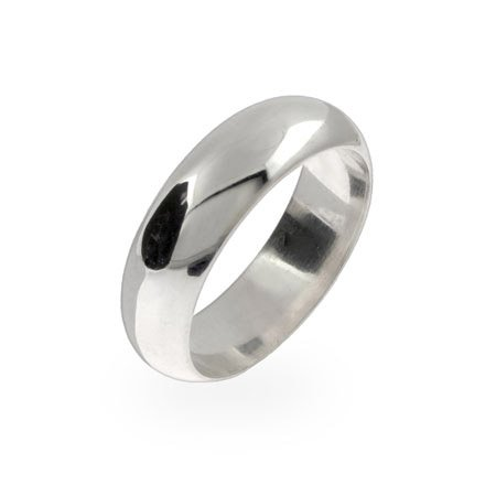 Classic 6mm Sterling Silver Wedding Band Size 12 (Sizes 5 6 7 8 9 10 11 12 13 Available)