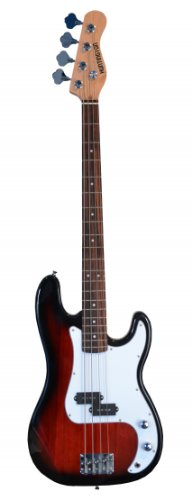 "Full Size 43"" Precision P Electric Bass Guitar Red With Gig Bag And Accessories, Includes, Strap, Strings, & Directlycheap(Tm) Translucent Blue Medium Guitar Pick"