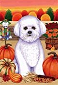 Bichon Frise - by Tomoyo Pitcher, Autumn Themed Dog Breed Flags 12 x 18