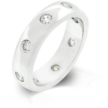 White Gold Rhodium Bonded Designer inspired Eternity Ring with Bezel Set Round Cut Clear CZ in Silvertone
