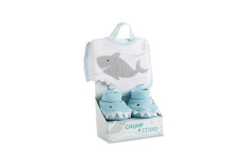 Baby Aspen Bib and Booties Gift Set, Chomp and Stomp Shark