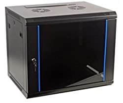 Wall Mounted 6u 450mm deep 19 inch rack enclosure - Glass Door