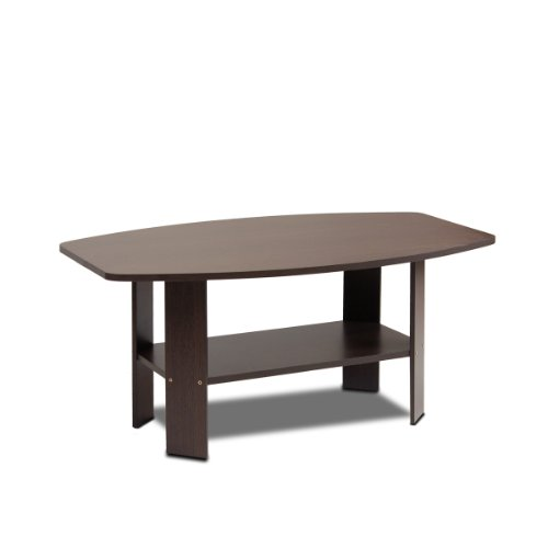 Furinno 11179dbr simple design coffee table dark brown new for Black and brown wood coffee tables