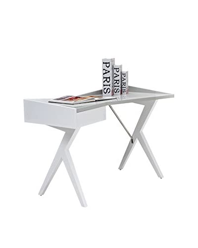 Casabianca Epic Office Desk, High Gloss White Lacquer