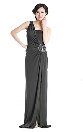 Beauty-Emily Sexy Grecian Style One Shoulder Evening Dresses Long Prom Gown Size 12 Color Black