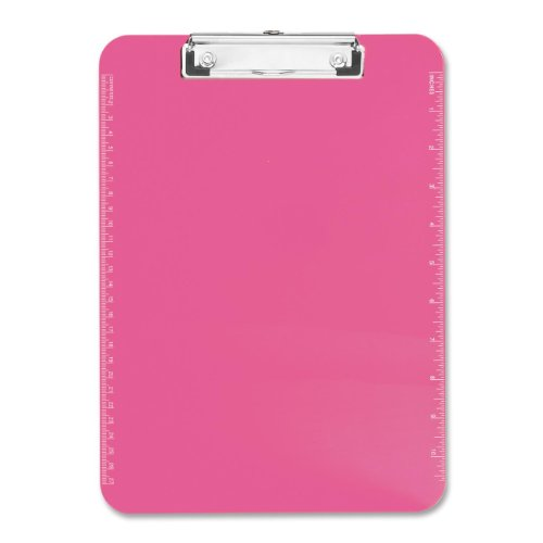 Neon Pink Transparent Plastic Clipboard, 9