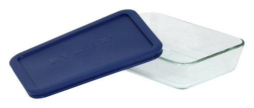 Pyrex Storage 3-Cup Rectangular Dish with Dark Blue Plastic Cover, Clear
