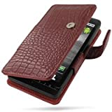 PDair Leather case for Motorola DROID X MB810 - Book Type (Red/Crocodile Pattern)