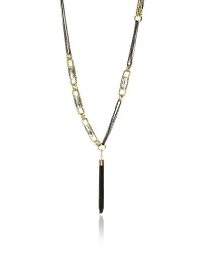 Sparkling Sage Long Oval Crystal Tassel Necklace