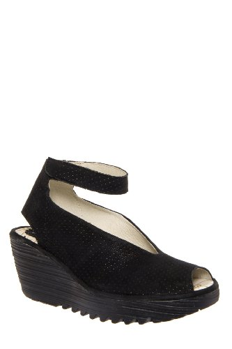 Fly London Yala Perf Mid Wedge Sandal