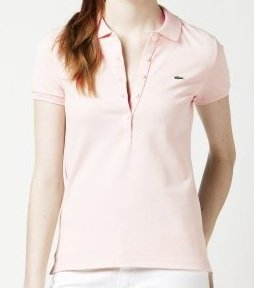 Lacoste Short Sleeve 5 Button Stretch Pique Polo : Pearl Pink (Size 6/EUR 38)