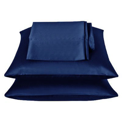 2 Pieces Of 350tc Solid Navy Blue Soft Silky Satin Pillow