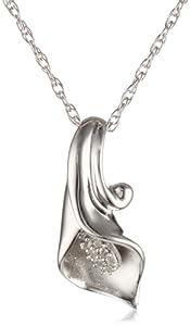 Sterling Silver Calla Lily Diamond Pendant Necklace , 18
