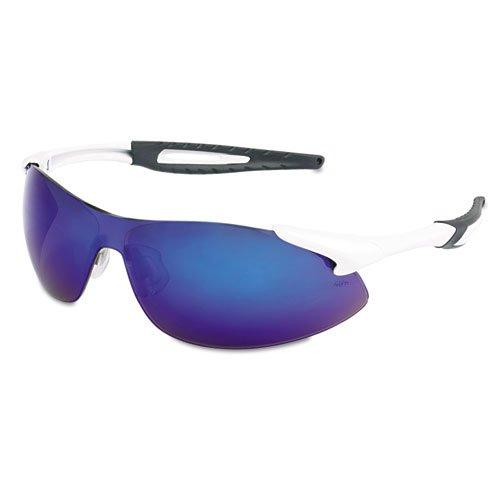 Crews - Inertia Safety Glasses, White Frame, Blue Diamond Mirror Lens, One Size Ia138B (Dmi Ea