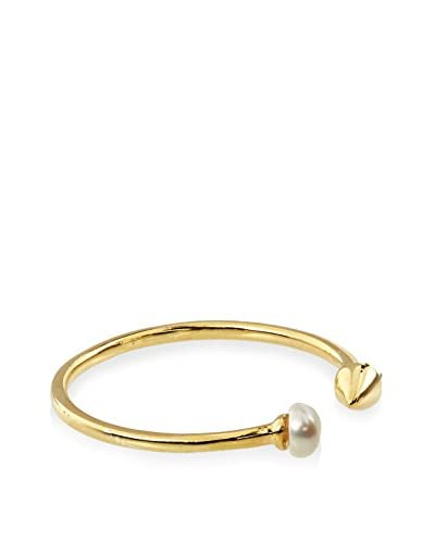 Jardin Gold Plated Arrow with Pearl Tips Open-Front Ring