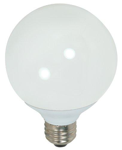 Satco S7306 15-Watt Medium Base Globe, 5000K, 120V, Equivalent To 60-Watt Incandescent Lamp