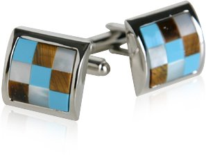 Turquoise, Mother of Pearl, & Tiger's Eye Silver Cufflinks