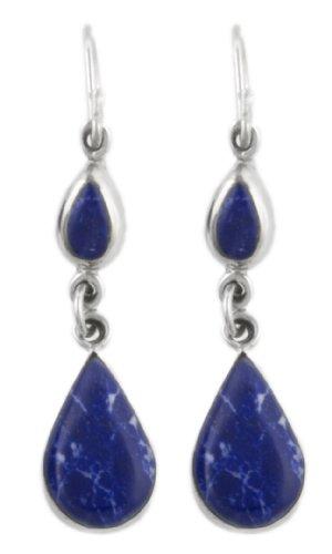 Sterling Silver Sodalite Inlay Double Teardrop Earrings