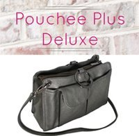 Pouchee Deluxe Ultimate Purse Tote Bag Organizer Soft Leatherette with Detachable Shoulder Strap, Multiple Colors