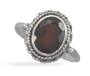 Faceted Garnet Ring with Rope Edge (5)