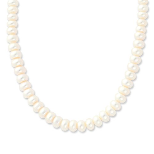 Sterling Silver 6-7mm FW Cult. Pearl White Necklace. 18in long Necklace.