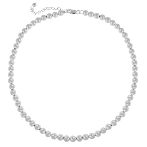 Sterling Silver 6mm Bead Necklace, 16+3