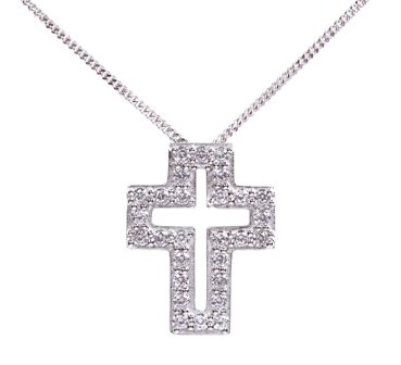 Symbols of Hope and Protection Necklace Pendant - Christianity - Brings Peace, Faith and Protection Sterling Silver with CZ