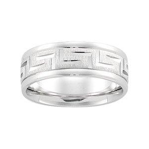 14K White Gold Greek Key Pattern Wedding Band:7mm: Size 8