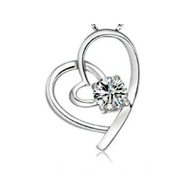 Top Value Jewelry - 925 Sterling Silver Heart Pendant, Elegant Women Necklace, Cubic Zirconia Stone, Free 18 Inch Chain
