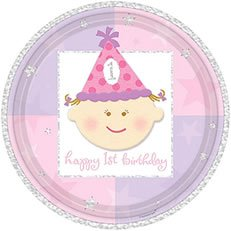 1st birthday girl plates - 1
