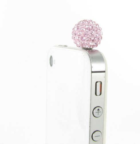 Disco Ball Rhinestone Dust Plug For Smart Phones And Tablets - Pink Crystals