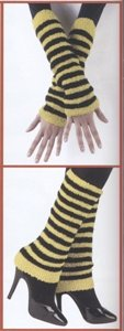 80s Fuzzy Leg Warmers (or Arm Warmers) (Yellow/Black) Adult Accessory