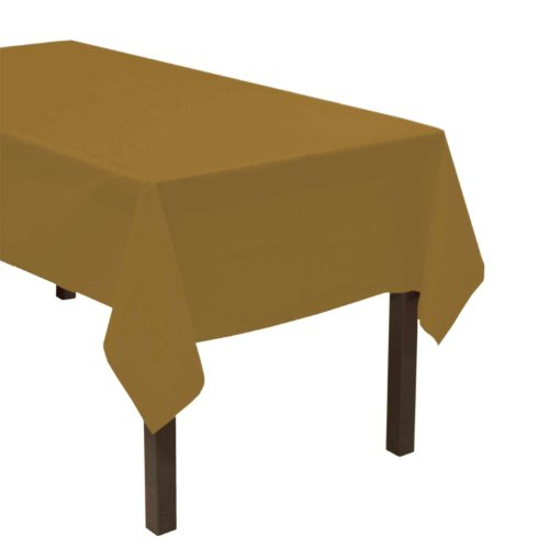 "Party Essentials ValuMost Plastic Table Cover, 54 x 108"", Metallic Gold"
