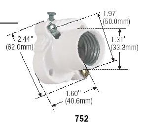 Eagle 53446 - 752W White Thermoset Cleat Socket with Front Wire Screw Terminals (S752W-SP CLEAT SOCKET)