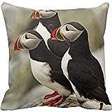 Xmas Atlantic Puffins on Machias Seal Island<br>Pillow Case Cover 18x18 inches two sides<br>PIllow Not Included