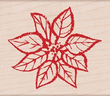 Paper Inked Poinsettia Wood Mounted Rubber Stamp (H4181)
