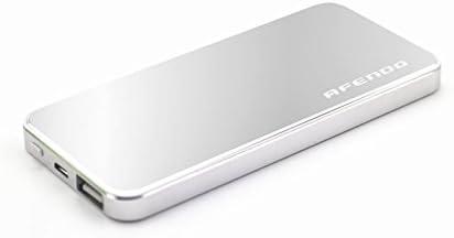 AFENDO® 4000mAh Ultra-Dünne Ultra Kompakt tragbare Ladegerät Pack Externe Mobile Backup Batterie USB- Ausgang Portable smart Starker Power Bank (Externer Akku-Pack und Ladegerät) 1A Ausgang mit 5W LED-Taschenlampe mit hoher Kapazität Notfall Ladegerät für iPad, iPad 2,3, iPhone 6, 5S, 5C, 5, 4S, 4, 3Gs 3G, 3, iPod, Blackberry, HTC, Android, Samsung, Nokia, Sony, Motorola, alle Generationen Mp3 Mp4 Player und Smart Phones und Bluetooth-Lautsprecher, Bluetooth-Kopfhörer, die meisten Bluetooth-Geräte 5V und anderen digitalen Geräten (Apple-Adapter-30-Pin-und lightning, nicht enthalten) mit 18 Monate Herstellergarantie (silber)
