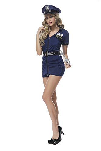 [Sexy Cop Dress Woman Role Play Uniform Police Costume Outfits with Hat Handcuffs] (Sexy Cop Uniform)