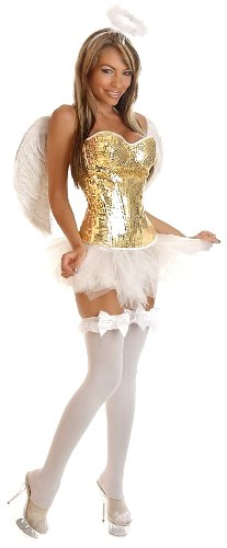 Daisy corsets Women's Glitter Pin-Up Angel Costume (4 Piece)