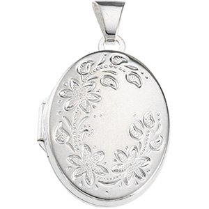 Genuine IceCarats Designer Jewelry Gift Sterling Silver Oval Shaped Locket. 20.75X16.00 Mm Oval Shaped Locket In Sterling Silver