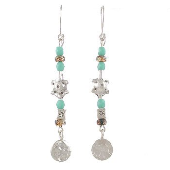 Long Dangle Earrings of Turquoise Czech Glass with Sterling Silver Turtles, Disc and Flower Embossed Cubes, #8035