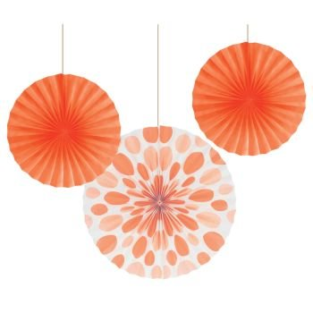 Sunkissed Orange Dot Paper Fans (3ct)