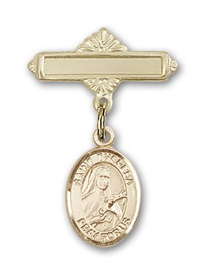 Gold Filled Baby Badge with St. Theresa Charm and Polished Badge Pin St. Theresa is the Patron Saint of Foreign Missions