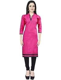 AppleCreation Women Poly Cotton Kurti (Pink_tops For Women Pink Kurtis NF1001_X-Large)