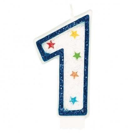 Amscan Star AMI 179901 Glitter Birthday Candle No.1 - 1