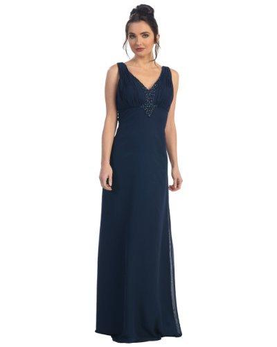 Fine Brand Shop Ladies Navy Blue Beaded Long Satin Evening Dress - Small