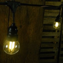 Commercial Led Filament String Lights, 10 Amber Globes, Black Wire: Amazon.co.uk: Kitchen & Home